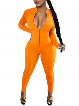 Orange Jumpsuit Full Length Tight Long Sleeve Contouring Sensation