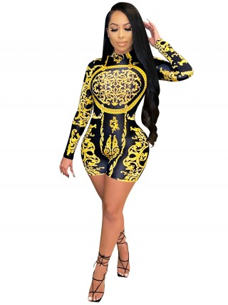 Yellow Printed Romper Long Sleeves Back Zipper Lady Clothing