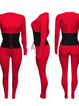 Red Jumpsuit Ankle Length Fitted Waist Tie New Fashion