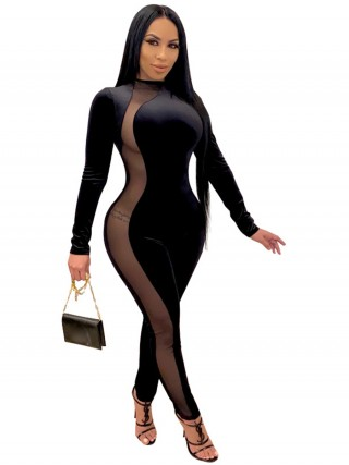 Black Side Mesh Splice Long Sleeve Jumpsuit Vacation Time