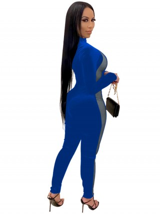 Blue Mock Neck Jumpsuit Mesh Splice Plus Size Newest Fashion