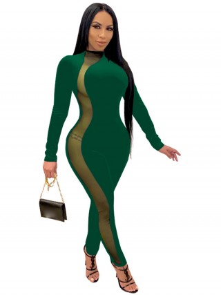 Green Large Size Jumpsuit Side Mesh Mock Neck Comfort Women