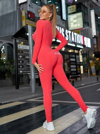 Red Full Sleeve V Neck Hip Patch Jumpsuit For Every Occasion