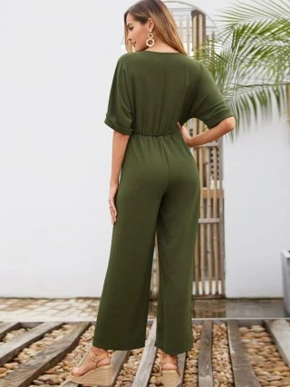 Sultry Army Green Tie Jumpsuit V Collar Solid Color
