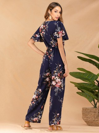 Casually Blue Ruffle Jumpsuit V Neck Flower Printed Outdoor