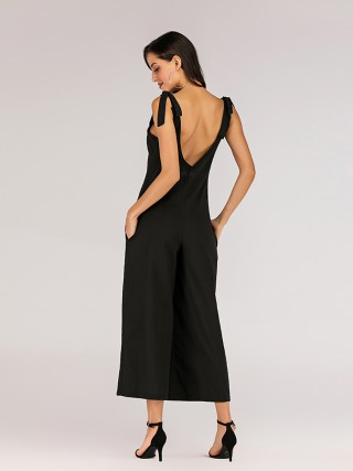 Gorgeous Black Open Back Jumpsuit Wide Leg Pockets For Ladies