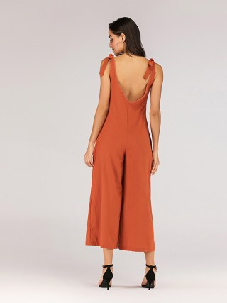 Socialite Orange V Neck Sleeveless Wide Leg Rompers Leisure