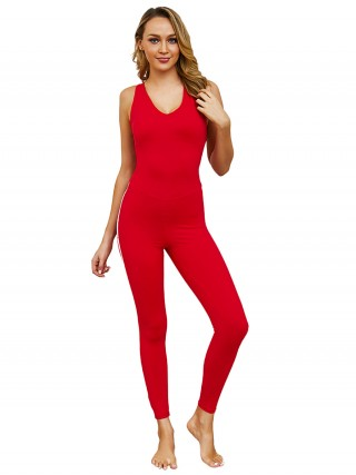 Soft Red Straps Jumpsuit Cross Back Full Length Slim Fit