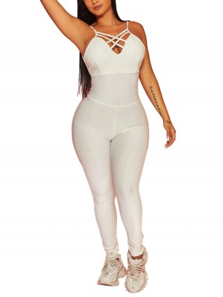 Exotic White Butt Lifter Jumpsuit Front Cross Strap Fashion Online