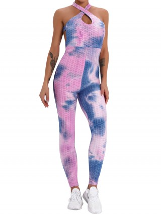Purple Sleeveless Tie-Dyed High Waist Jumpsuit Womenswear