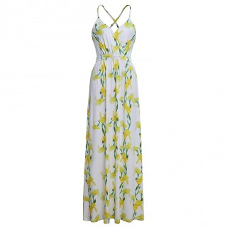 Upscale Yellow Slender Straps Flower Dress Floor Length Fit