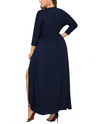 Dazzling Dark Blue High-Low Hem Shirred Queen Size Dress For Women