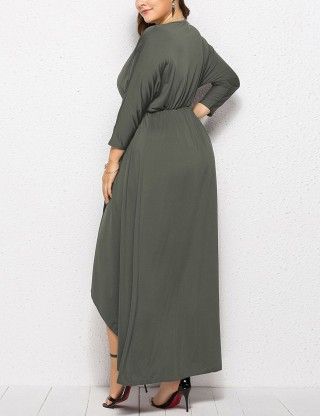 Cheeky Gray Queen Size Elastic Waist Slit Dress Sensual Curves