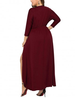 Wine Red Ruched Plunge Collar Large Size Dress Glamorous Look