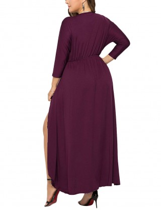 Fuchsia Deep-V Neck High-Low Large Size Dress Leisure Time