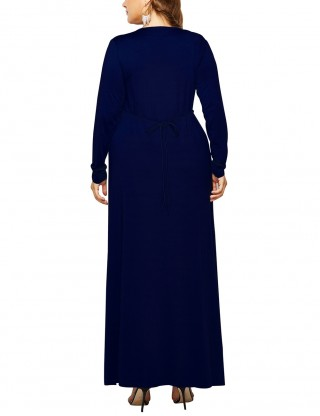Daring Dark Blue Self-Tie Belt Queen Size Ruched Dress Fabulous Fit