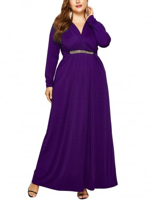 Casually Purple Plus Size Waist Tie Plain Dress Fashion Essential