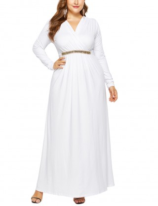 Eye-Appealing White V-Neck Large Size Waist Belt Dress Superior Comfort