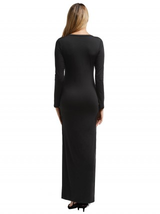 Alluring Black Maxi Dress High-Low Hem Full Sleeve Feminine