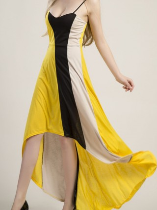 Chic Irregular Slender Straps Maxi Dress Gentle Fabric