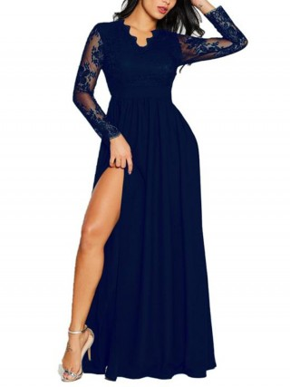 Seductive Blue V-Neck High Slit Lace Maxi Dress High Quality
