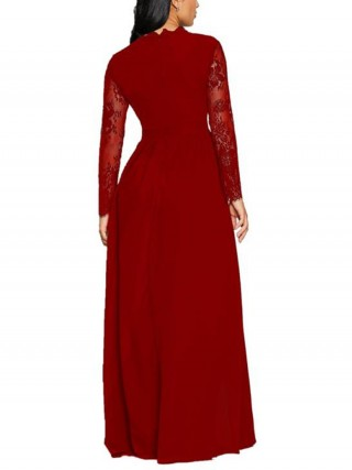 Nicely Red Knit High Elastic Maxi Dress For Sauntering