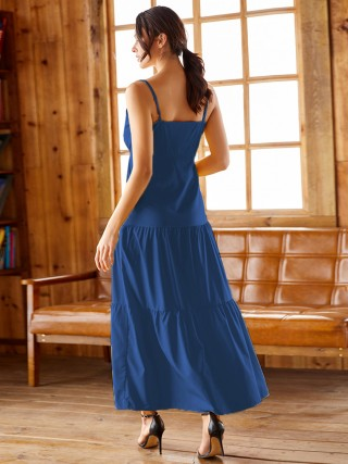 Favorite Blue Waist Tie Sling Maxi Dress Queen Size New Fashion