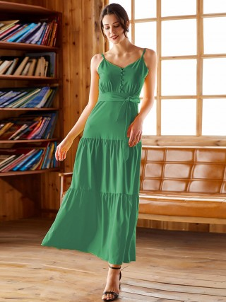Extraordinary Green Ruched Maxi Dress Tie Large Size For Lady