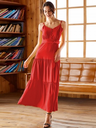 Eye-Appealing Red Adjustable Strap Big Size Maxi Dress