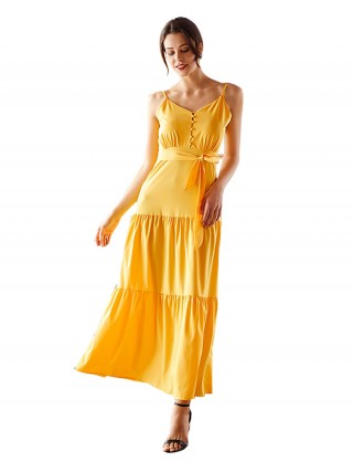 Particularly Yellow Backless Sling Maxi Dress Big Size Breath