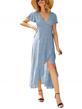 Seductive Blue Warp Knot Maxi Dress Ruffled Hem Stretchy