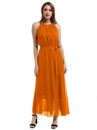 Noble Orange Halter Neck Knot Plus Size Maxi Dress Woman