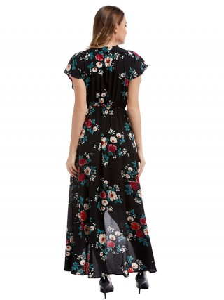 Edgy Black Maxi Dress V Collar Flower Printed For Outdoor