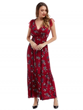 Glittering Red Deep V Neck Hollow Out Maxi Dress Elegant