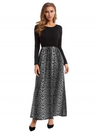 Dazzling Maxi Dress Big Size Leopard Splice Sensual Curves
