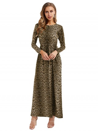 Slim Fit Leopard Printed Maxi Dress Big Size Sheath