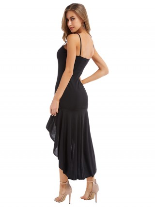 Structured Black Square Neck Maxi Dress High-Low Hem Quick Drying