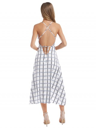Marvellous White Maxi Dress Plaid Paint Backless Fashion Insider
