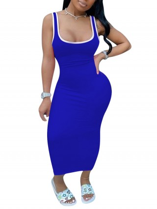 Slip Royal Blue Tank Dress Maxi Length Splice Bodycon Distinctive Look