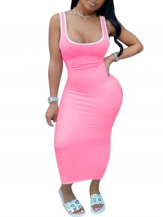 Irresistible Pink Square Neck Tank Maxi Dress Sleeveless Breath