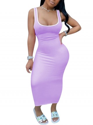 Well-Suited Purple Sleeveless Tank Dress Maxi Length Splice