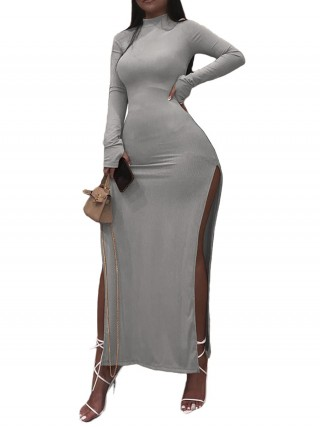 High Slit Gray Maxi Dress Long Sleeve Comfort Fabric