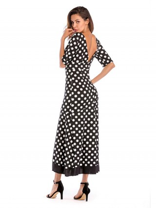 Dressy Black Maxi Dress Polka Dots Plunge Collar Casual Women