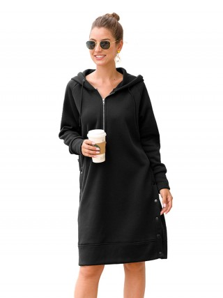 Stretchable Hooded Neck Midi Dress Large Size Good Elasticity