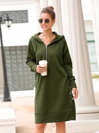 Affordable Big Size Drawstring Hooded Midi Dress Natural Women