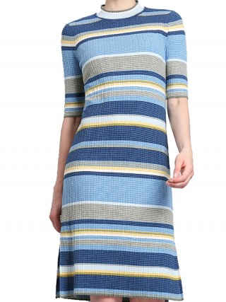 Honey Blue Round Neck Half Sleeve Midi Dress Garment
