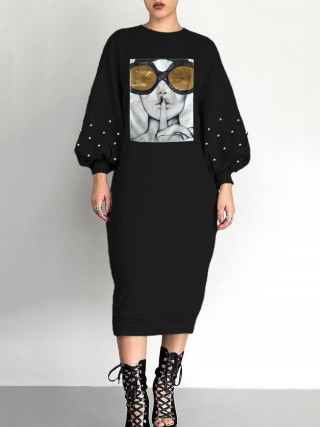 Fantastic Black Balloon Sleeves Midi Dress With Pearl For Strolling