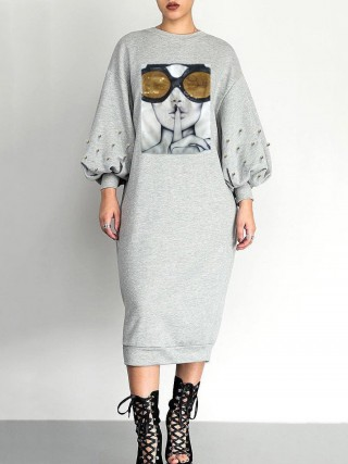 Ultra Cheap Gray Patchwork Midi Dress Bishop Sleeves Trend For Women