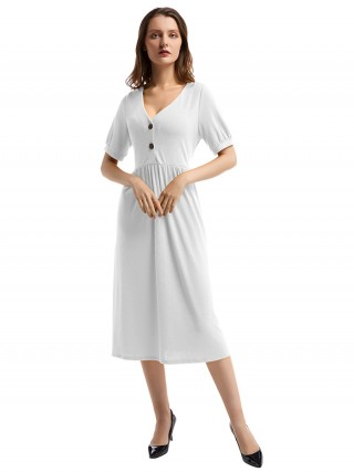 Sheerly White Short-Sleeve Pleated Waist Midi Dress Trend For Women