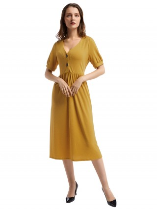 Brightly Yellow Button Front Midi Dress Ruched Waist Glamor Women